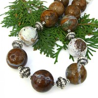 Ocean Jasper with Druzy Necklace, Gemstone Sterling Handmade Jewelry
