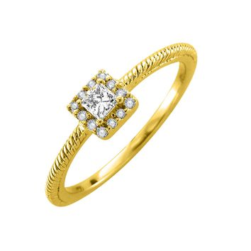 IGI CERTIFIED | 14k Gold Round & Princess Cut Diamond 1/5 Carat Engagement Ring Band (White, Yellow, Rose)