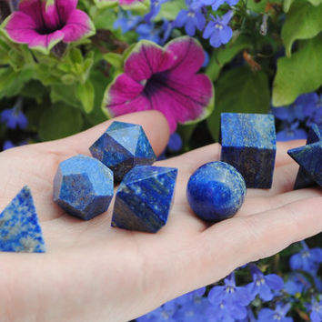 7pcs Lapis Lazuli Platonic Solids Sacred Geometry Set ~ Beautiful Crystal Healing Set