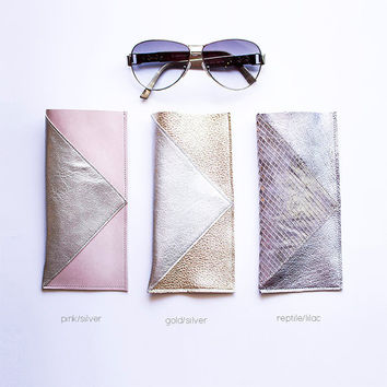 Metallic Leather Glasses Case, Geometric case for Sunglasses, Spring Pink Metallic Gold Silver