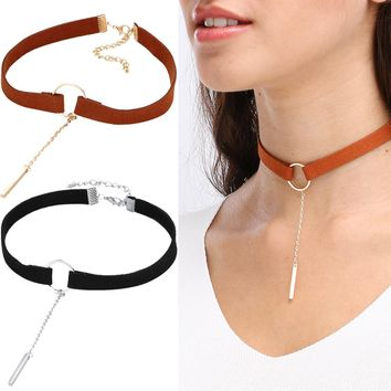 Suede Choker with bar drop pendant