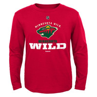 Minnesota Wild Reebok Youth Clean Cut Long Sleeve T-Shirt – Red