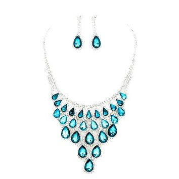 Aqua Blue Clear Rhinestone Silver Necklace Jewelry Earrings Set