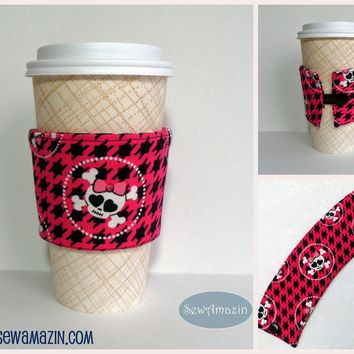 Pink Skullies Coffee Cup Cozy, Cold Drink Wrap, reusable, eco-friendly