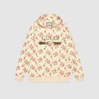GUCCI Rose Print Hooded Cotton Sweatshirt