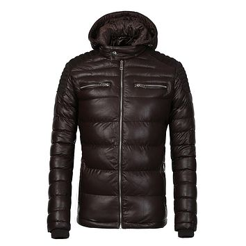 COUTUDI New Arrival Winter Coat Men Warm Waterproof Parka Coffee PU Leather Jacket Casual Puffer Jacket and Coats Men's Clothing