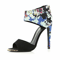 Blue floral print ankle cuff sandals