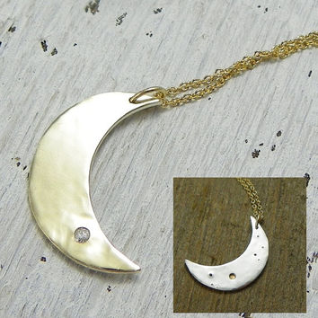 14k Gold and Diamond Moon Necklace,Reverseable, Crescent Moon Necklace, Handmade Necklace, Conflict Free Diamond, Gold Moon