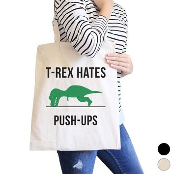 T-Rex Push Ups Canvas Shoulder Bag Cute Gym Tote Funny Workout Gift