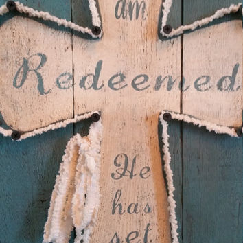 "New Hand Crafted Turquoise Rustic Wood Wall Cross / ""I Am Redeemed"" Hand Painted Wooden Cross"