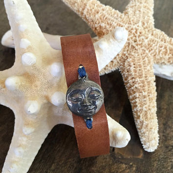 Full Moon Bracelet, Distressed Knotted Leather Cuff Boho Jewelry by Two Silver Sisters