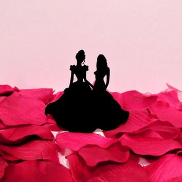 Cinderella and her Leading Lady Wedding Cake Topper