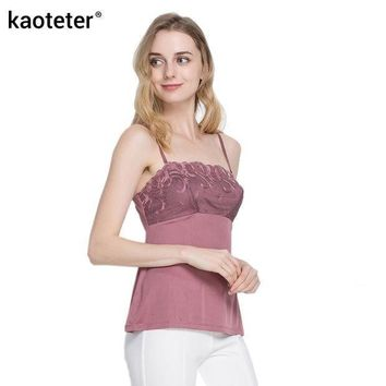 100% Pure Silk Women's Camisoles Female Lace Inner Camis Sleeveless Adjustable Straps Women Sexy Sling Tops Halter Tops Woman