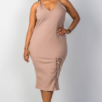 Womens ribbed knit lace-up dress
