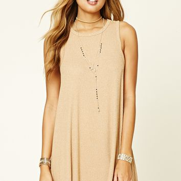 Ribbed Marled Knit Swing Dress
