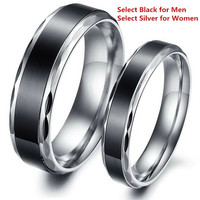 Fashion titanium stainless steel lovers bands ring promise couple rings black & silver color = 1930103172