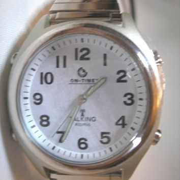 ATOMIC! Talking Wrist Watch with Deluxe Shinny Band with Alarm/Time,Day,Date and Year