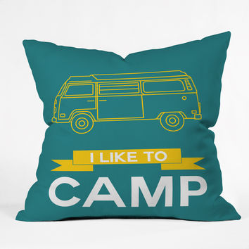 Naxart I Like To Camp 2 Outdoor Throw Pillow