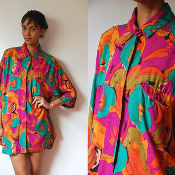 Vtg Colorful Painted Floral Print Pink Orange Green Oversize SS Shirt