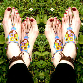 Hippie Owl Barefoot Sandals - Handmade Bohemian Cotton Fabric Jewelry - L2 Model
