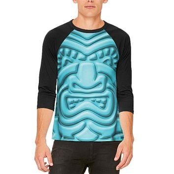 Tiki God Blue Face Luau Mens Raglan T Shirt