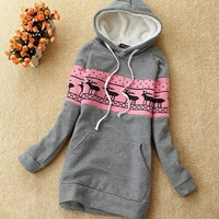 Korean Womens Hoodies Outwear Printed Casual Tracksuit Round Neck Hooded New 1fc