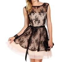Sale-zelda- Black/champagne Prom Dress
