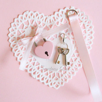 ADD-ON : Baby Pink Heart Padlock Lanyard w/ Key (Pick Your Colors)