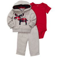 Carter's Boys 3 Piece Moose Embroidered French Terry Front Zip Hooded Sweatshirt, Bodysuit, and Pant Set