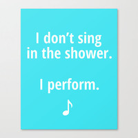 Kids bathroom art, bathroom decor, bathroom sign, I don't sing in the shower, bathroom accessories, funny poster