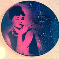 Galaxy Audrey Hepburn Stencil Painting on Vinyl