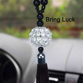 Car Rear View Mirror Hanging Ornaments Interior Decoration Buddha Glass Ball Beads Lucky Charm Pendants Pendant for Bag
