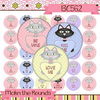 Valentine's Day Cats with Candy Hearts Digital Collage - 1 inch Circle Bottle Cap Image - Instant Download