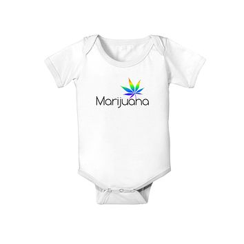 Marijuana Text and Leaf - Rainbow Baby Romper Bodysuit