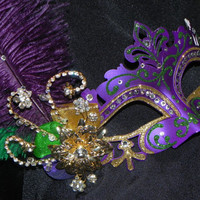 Purple, Green and Gold Mardi Gras Mask with Feather and Rhinestone Accents