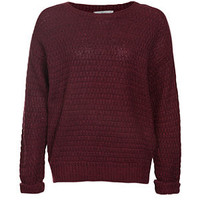 Burgundy Knitted Crew Neck Jumper