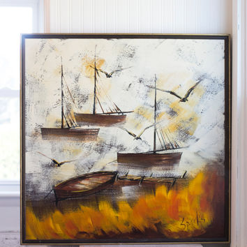 Vintage Nautical Painting - Original Boats at Sunset - Signed by Artist