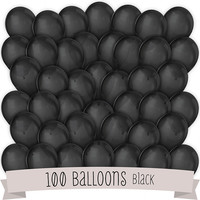 Black - Party Latex Balloons - 100 ct