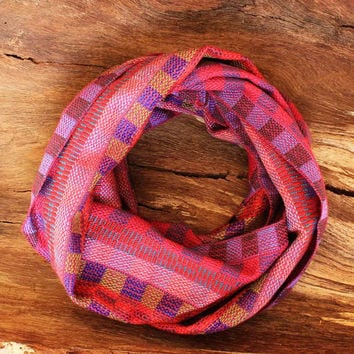 Purple and Pink Hand Woven Eternity Scarf, Spring Scarf, Pink Scarf, Purple Scarf, Hand Woven Scarf, Unique Gift Ideas, Infinity Scarf 6100