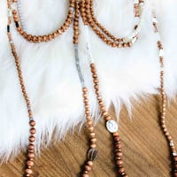 Mixed Bead Wood Layering Necklace