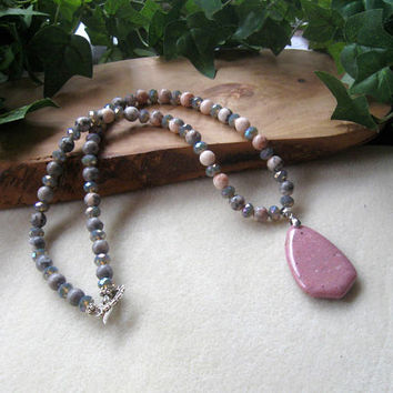 Pink Jasper, Pink Zebra Jasper, Gemstone Beaded Necklace, Handmade Necklace, Artisan Jewelry, Faceted Glass, Pendant Necklace, Boho Chic