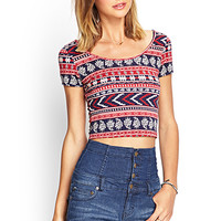 FOREVER 21 Geo Crop Top Navy/Burgundy Large