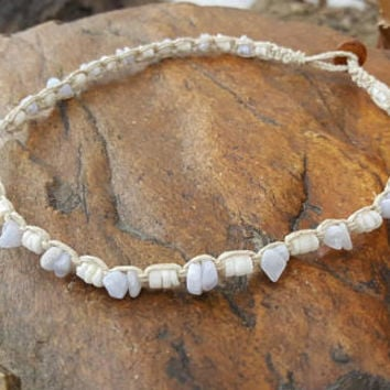 Dainty Shell Choker, Hemp Choker, Puka Shell Choker, Crazy Lace Agate, Hemp Necklace, Handmade Jewelry, Gift, Choker Necklace, Hemp Macrame