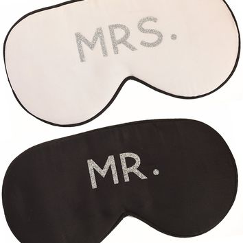 MR. + MRS. SILK SLEEP EYE MASK SET IN BLACK WHITE - SILVER LETTERING
