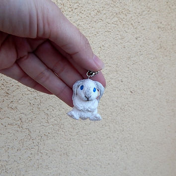 Rabbit Pendant, Rabbit Jewelry, Bunny Jewelry, Rabbit Totem, bunny totem, Childrens Necklace, Animal Pendant Necklace, bunny pendant of clay