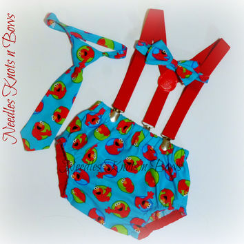 Boys Elmo Cake Smash Set, Baby Boys 1st Birthday Cake Smash Outfit, Elmo Birthday