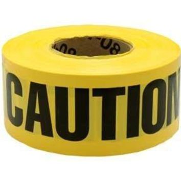 "Yellow Caution Barricade Tape, 3"" X 1000' Roll"