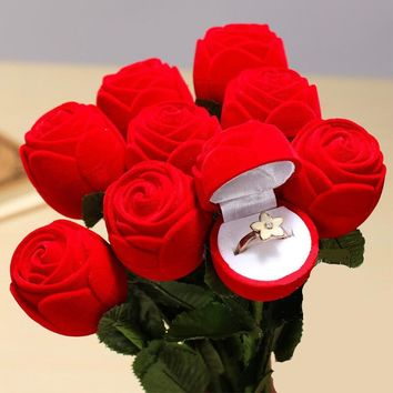 Red Rose Flower Engagement Wedding Ring Earring Jewelry Display Gift Box