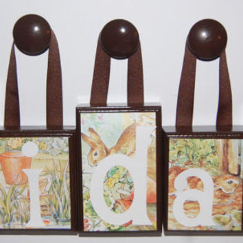 4 Letter Peter Rabbit Large Wood Block Name Set