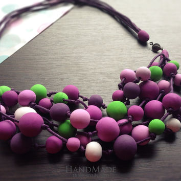 "Polymer clay necklace ""Purple mood"""